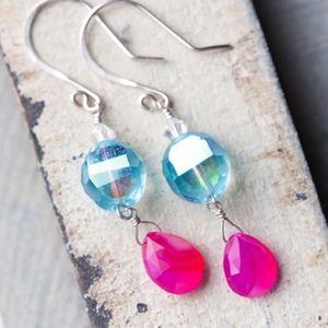 Hot Pink Chalcedony Blue Silver Earrings NEW